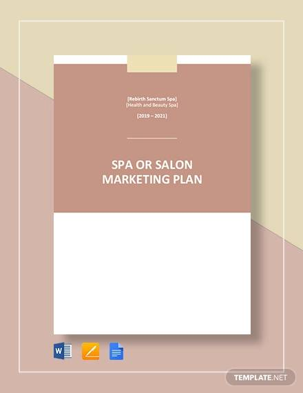 spa or salon marketing plan template