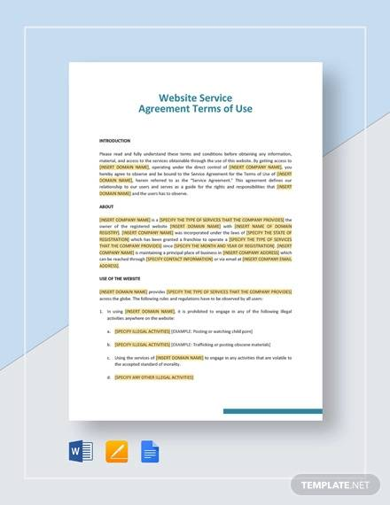 website service agreement terms of use template
