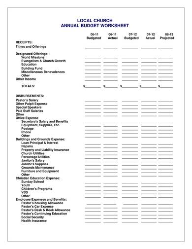 annual church budget sample template