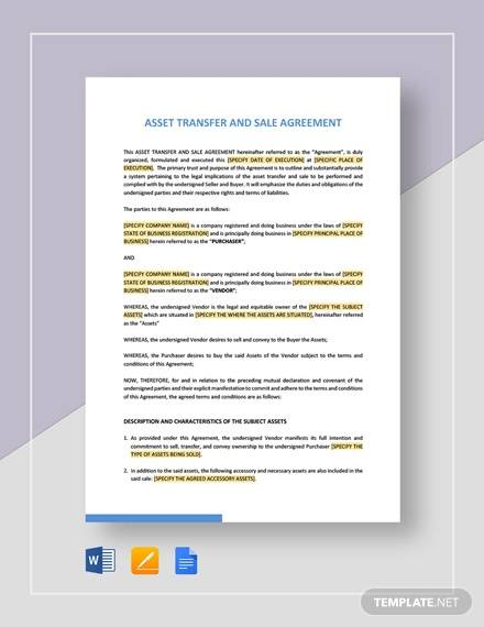 asset transfer and sale agreement template