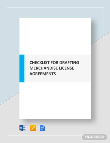 checklist drafting merchandising license agreements template