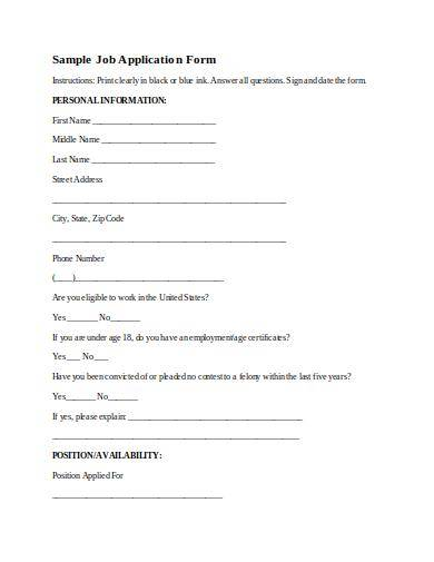 editable employment application form sample