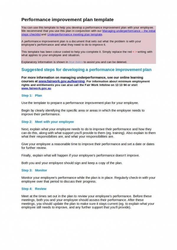editablle performance improvement plan template