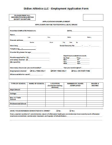 employment application form with waiver