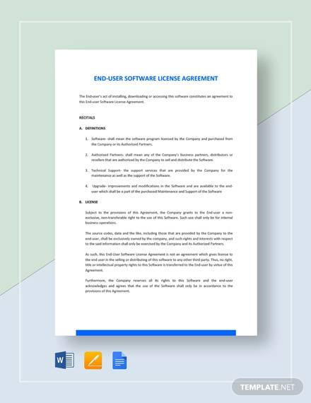 end user software license agreement template