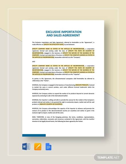 exclusive importation and sales agreement template