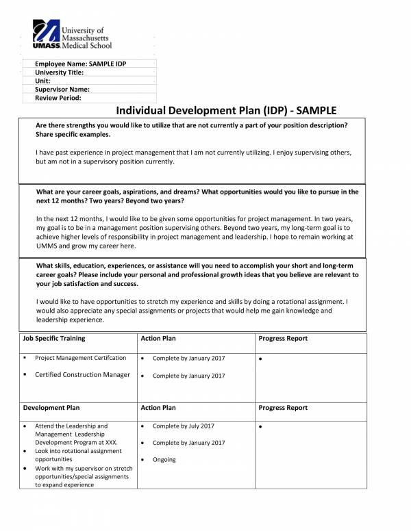 individual staff development plan sample template 1