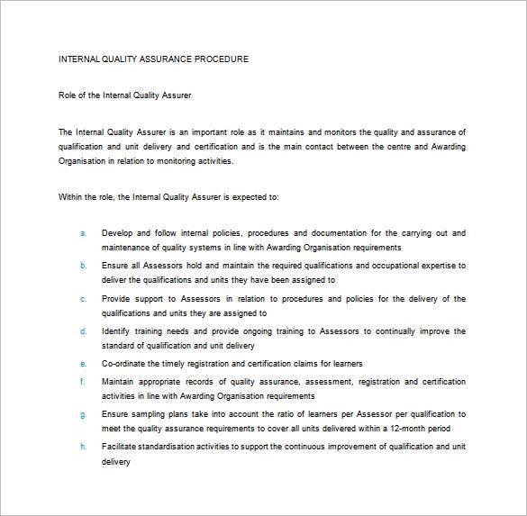 internal quality assurance procedure plan template