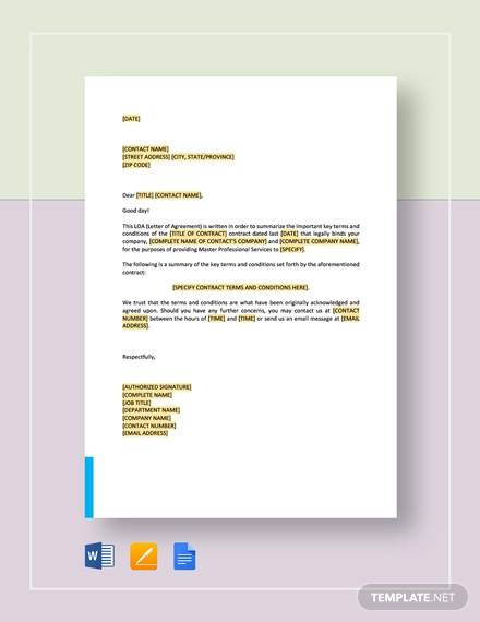letter of agreement master professional services agreement template1