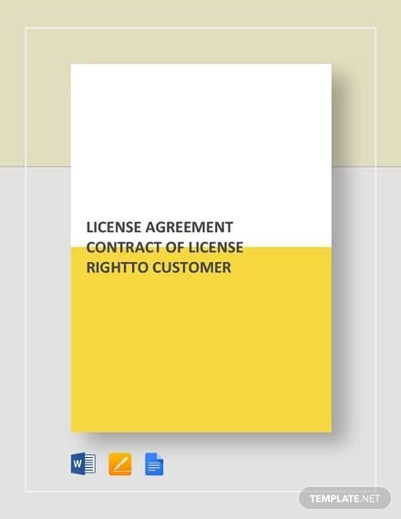 license agreement contract of license right to customer template