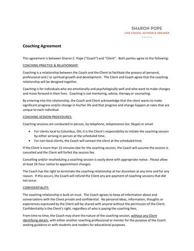 life coach agreement contract 1