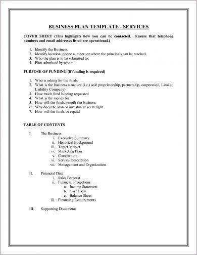 marketing business plan template for services