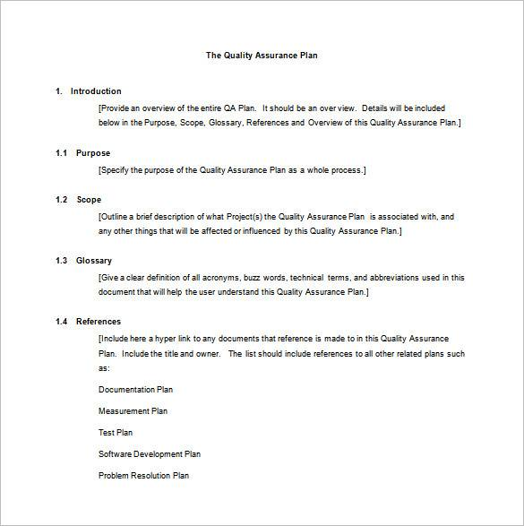 master quality assurance plan word template