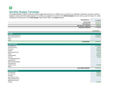 monthly budget template 1