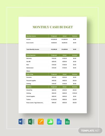 monthly cash budget template