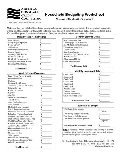 monthly household budgeting worksheet