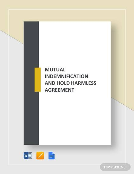 mutual indemnification and hold harmless agreement template