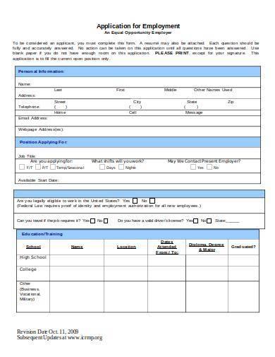 non law enforcement employment application form