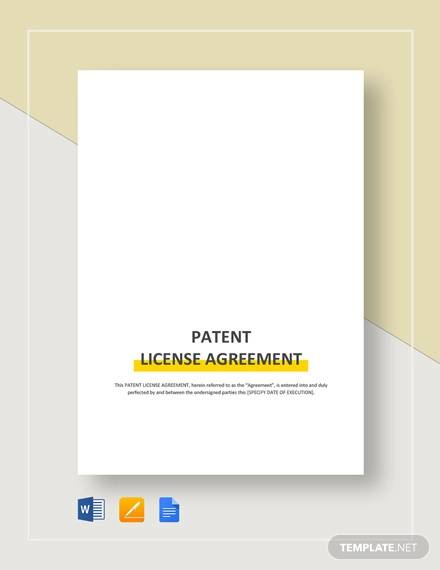 free 5 patent license agreement samples templates in. Black Bedroom Furniture Sets. Home Design Ideas