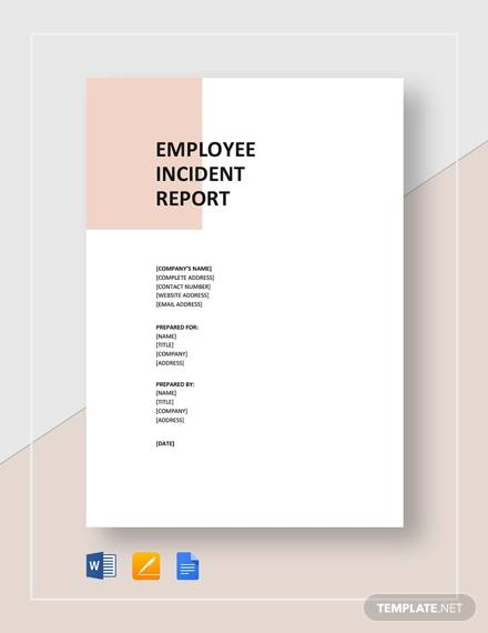 printable employee incident
