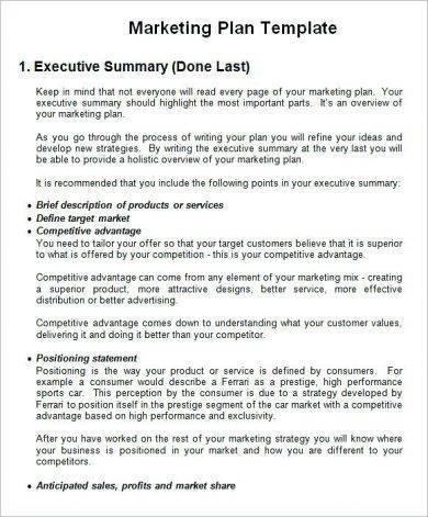 printable marketing business plan template