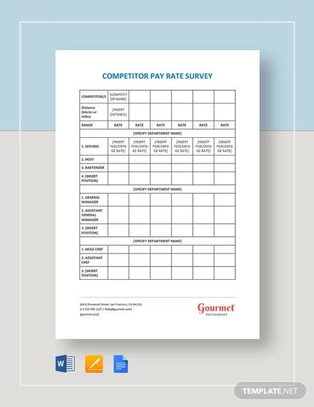 restaurant competitor pay rate survey template