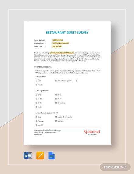 restaurant guest survey template
