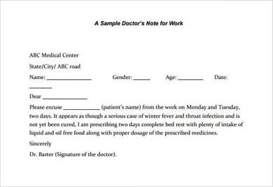 sample doctors note for legal work