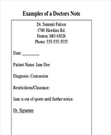 sample doctors note for sports