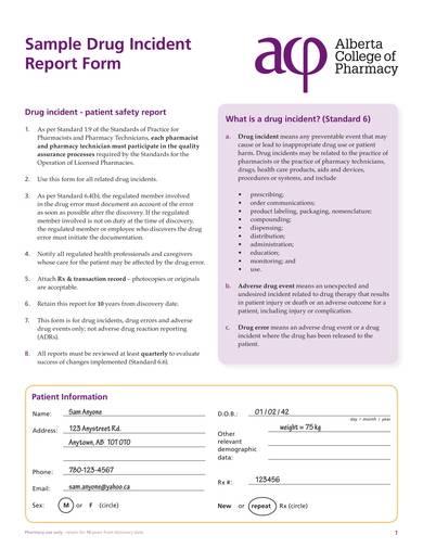sample drug incident report form