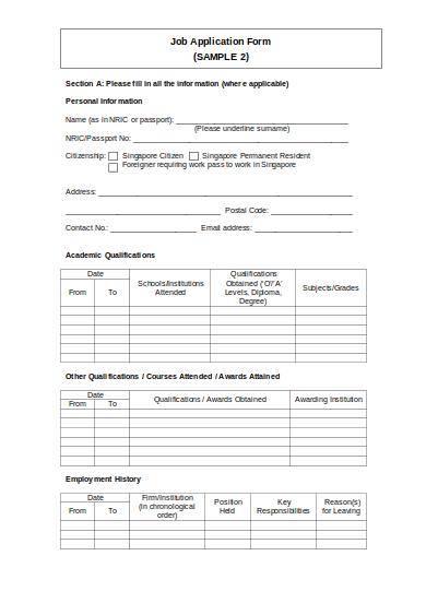 sample employment application form
