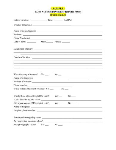 sample farm incidentreport form