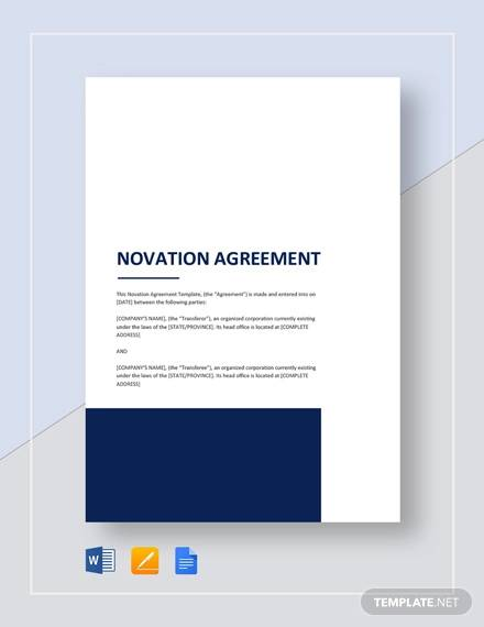 sample novation agreement template