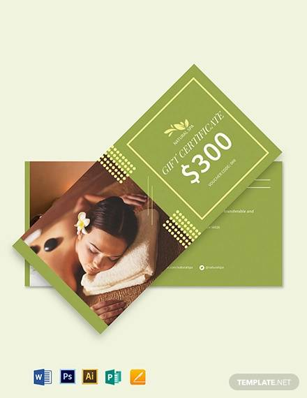 spa gift voucher card template