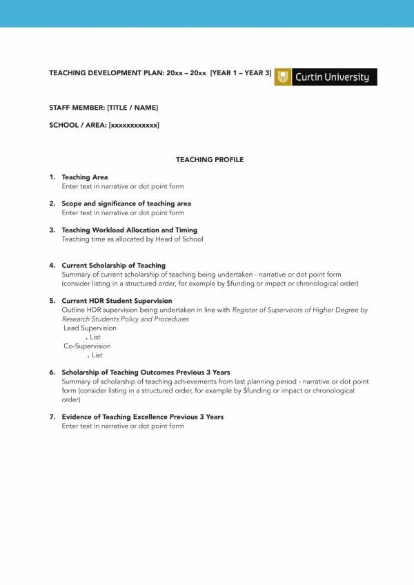 teaching staff development plan template 2