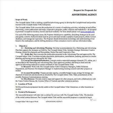 advertising and marketing agency proposal request template