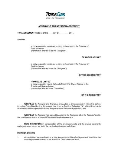 assignment and novation agreement template 1