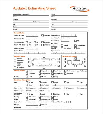auto repair estimating sheet template