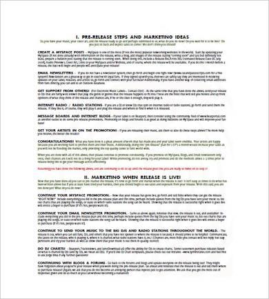 basic music marketing plan template