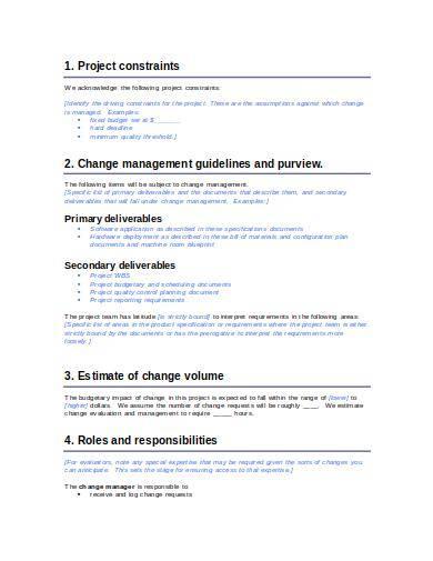 blank change management plan template