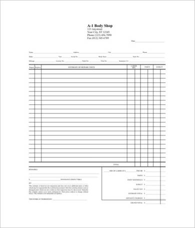 body shop repair estimate sheet