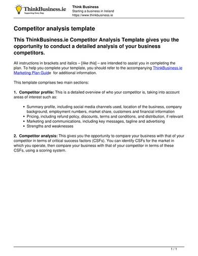 business competitor analysis template 1