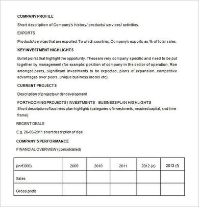 business investment proposal format