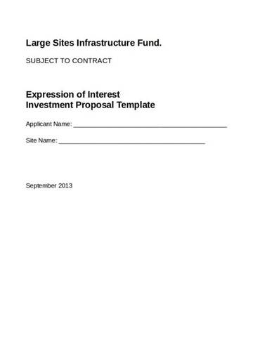 business investment proposal for infrastructure