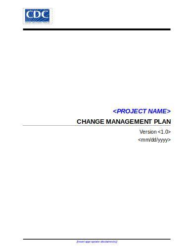 cdc change management plan template