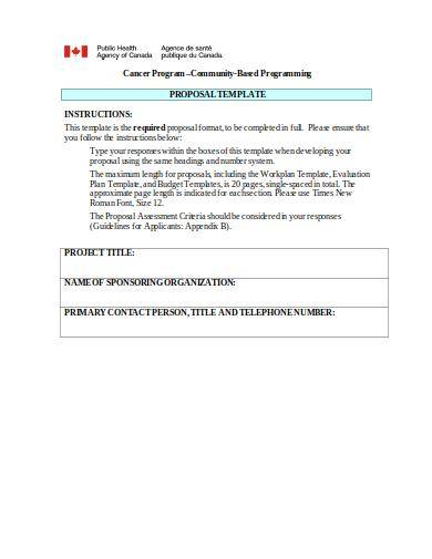 cancer program proposal template