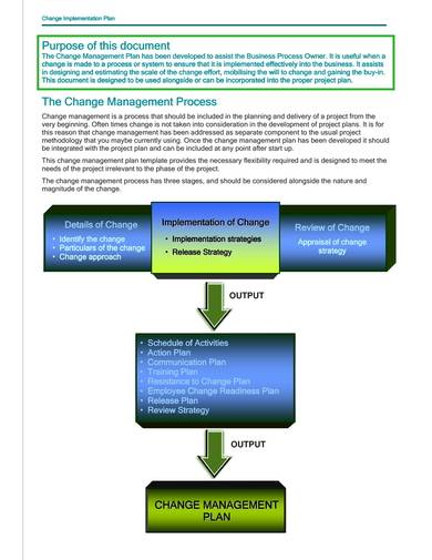 change management plan workbook and template