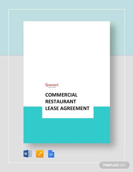 commercial restaurant lease agreement template