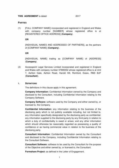 consultant non disclosure agreement template