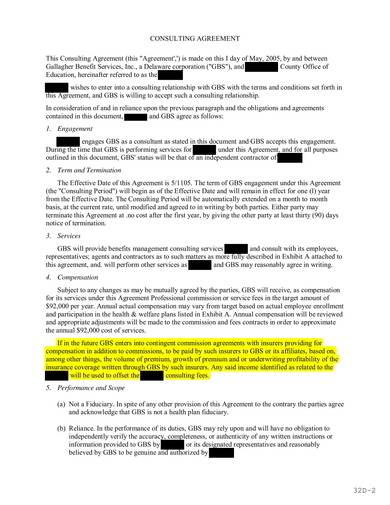 consulting services agreement sample 2